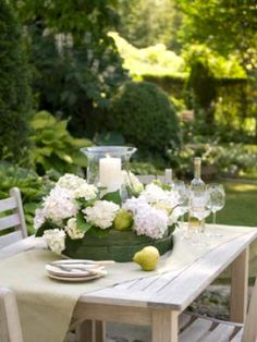 Place a glass hurricane in the center of the sieve, and fill the container to just below the top with wet oasis. Add hydrangea, pears and the candle.