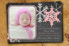 Baby GIRL ANNOUNCEMENT Winter Baby Custom Printable or printed on Etsy, $15.99