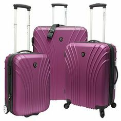 Jetset in style with this expandable suitcase set, perfect for weekend jaunts and exotic getaways. The wheeled, hard-shell designs feature top and side carrying handles.    Product: Small upright carry-on, medium spinner and large spinnerConstruction Material: Polycarbonate ABSColor: LavenderFeatures:  Scratch-resistant   Aluminum telescopic handle system with push button locking  Ultra-light 4 wheeled system on spinners makes rolling effortless  Recessed inline 2 wheeled system on small ...