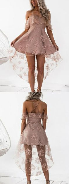 If there was more opaque fabric graduation outfits Pink Cold Shoulder Mesh Panel Cami Hi-Lo Dress Farewell Dresses, Grad Dresses, Dresses For Teens, Outfits For Teens, Cute Dresses, Short Dresses, Bridesmaid Dresses, Formal Dresses, Fashion Line
