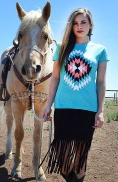 CRAZY TRAIN CLOTHING TURQ RIO RODEO TEE