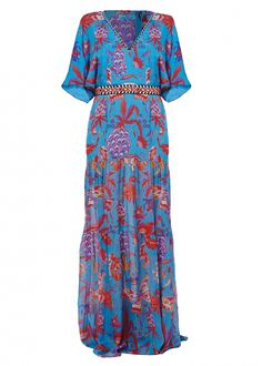 Matthew Williamson's PF15 Pineapple Paisley Print Tiered Maxi Dress. Click to shop the look.