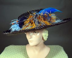 JAMES CAMERON'S TITANIC - BROAD BRIM STRAW GIBSON GIRL HAT - SILK ROSETTE AND FEATHERS - Available for sale at RPVINTAGE.COM