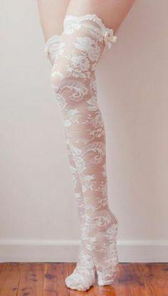 ★ Soulful White ★ Lace Knee Hi Stockings / Grace Loves Lace Estilo Lolita, Grace Loves Lace, Lolita Mode, Sexy Stockings, Stockings Lingerie, Costume, Mode Inspiration, Lolita Fashion, Dress Fashion