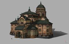 Romanesque Catholic church, yeonji Rhee on ArtStation at https://www.artstation.com/artwork/romanesque-catholic-church