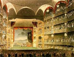 "Inside London's Theatre Royal in the early 1800s.  This is how it would have looked when Dibdin staged his ""Harlequin and Mother Goose"" here."