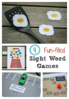 4 FREE printable sight word games- perfect to use as Kindergarten and First Grade literacy stations or centers. Sight Word Games, Sight Word Activities, Classroom Activities, Classroom Helpers, Literacy Games, Literacy Centers, Kindergarten Literacy Stations, Emergent Literacy, Articulation Games