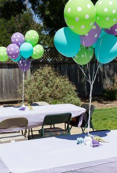 Green, Blue, and Purple Polka Dot Balloons with Dinosaur Weights as Table Décor – shared by Craftiness is not Optional Girl Dinosaur Birthday, Monster Inc Birthday, Monster Inc Party, Dinosaur Party, Monster University Birthday, Dinosaur Balloons, Elmo Party, Mickey Party, Pirate Party