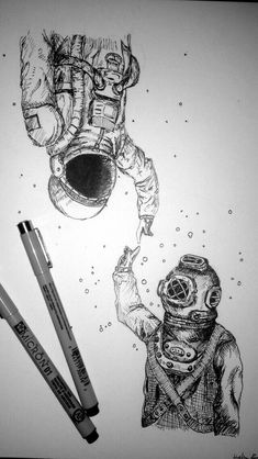 Underwater and Space, such a cool and beautiful art piece Cool Drawings, Drawing Sketches, Pencil Drawings, Space Drawings, Beautiful Drawings, Art Et Design, Graffiti Tattoo, Desenho Tattoo, Pen Art