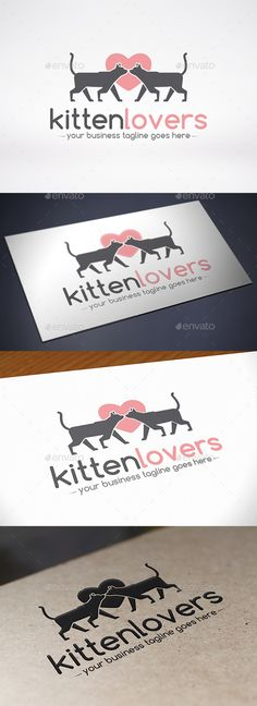 Love Cat Logo Template