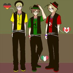 The BFT Second Gen: Ludwig, Lovino, and Matthew - Art by 抹茶みんと