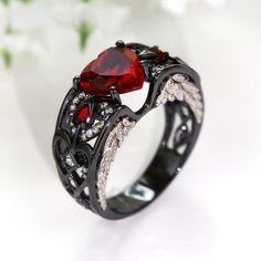 Black Wedding Rings, Black Rings, Skull Wedding Ring, Engagement Ring Shapes, Engagement Rings, Angel Wing Ring, Angel Wings, Accesorios Casual, Beautiful Rings