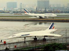 Concorde: Air France and Boeing 747 sharing the tarmac at Kai Tak Airport, Hong Kong. Air France, Sud Aviation, Civil Aviation, Commercial Plane, Commercial Aircraft, Concorde, Rolls Royce, A380 Aircraft, Aircraft Photos