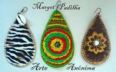 brincos artesanais, com lãs,couro...