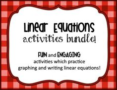 Writing Linear Equations Activities Bundle!  The most fun and engaging activities that practice graphing and writing linear equations.