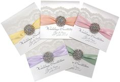 A truly sparkling wedding stationery collection with a crystal diamante wedding invitation that is perfect for a glamorous wedding. Featuring a crystal cluster, vintage style lace, satin ribbon and personalised wedding invitation printing. Pastel Wedding Invitations, Bespoke Wedding Invitations, Beautiful Wedding Invitations, Wedding Stationery, Wedding Pastel, Sparkle Wedding, Glamorous Wedding, Crystal Wedding, Black Wedding Dresses