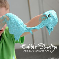 Edible sludge sensory play for kids of all ages - a messy slime-like dough from And Next Comes L