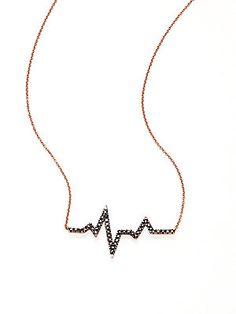 Diane Kordas Black Diamond & 18K Rose Gold Heartbeat Necklace