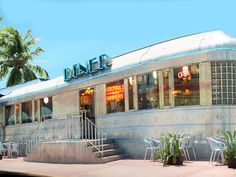 11th Street Diner, Miami Beach, FL.~ The original 1948 structure of the diner was dismantled and shipped down from Wilkes Barre, PA., and set up on the corner of bustling Washington Ave. This popular 'round the clock spots attracts a friendly, yet motley crew of celebrities and curious tourists.