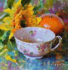 "Daily Paintworks - ""Sunflower Teacup and Orange"" - Original Fine Art for Sale - © Elena Katsyura"