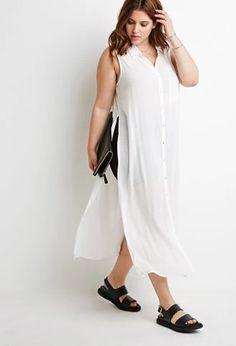 High-Slit Longline Shirt | Forever 21 PLUS | #f21plus