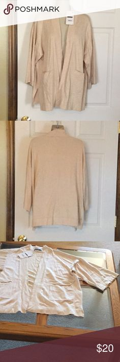 Zara Cardigan Sweater NWT Super soft and stretchy, 2 pockets in front.  12 inch sleeves.  27 inches from top of shoulder to the bottom of sweater.  72% viscose and 28% nylon.  Would also fit medium.  Light tan in color. Zara Sweaters Cardigans