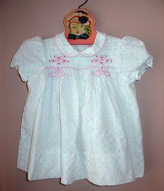 edfaed075a39 POLLY FLINDERS Smocked DRESS Aqua Rose, Smock Dress, Smocking, Ruffle  Blouse, White
