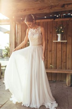 Romantic Lace Chiffon Beach Wedding Dress, Ivory Wedding