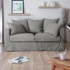 Canapé en lin froissé déhoussable Assise Plumtex JULIA Home Spirit port offert env 1200 Euros