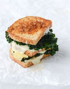 crispy kale grilled cheese with fried eggs I howsweeteats.com