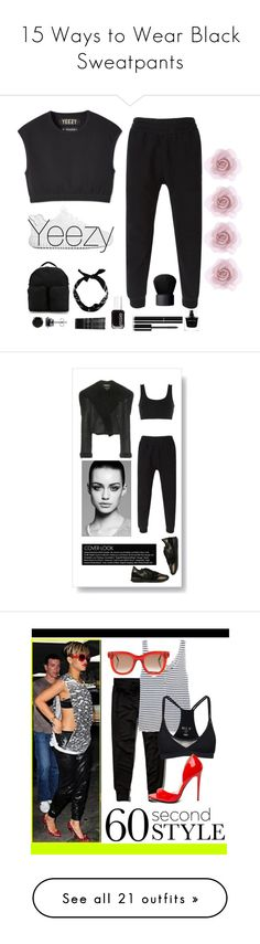 """15 Ways to Wear Black Sweatpants"" by polyvore-editorial ❤ liked on Polyvore featuring waystowear, blacksweatpants, adidas Originals, BERRICLE, Monki, Essie, Chanel, Narciso Rodriguez, NARS Cosmetics and Accessorize"