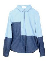 Color Matching Lapel Slim Denim Shirt $70 #SheInside