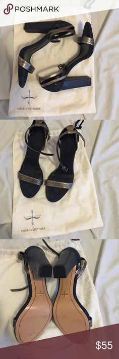 Brand new pour la victoire strappy heels These are a dark real/navy shoe with silver accents. Brand new all offers welcomed. Comes with dust bag - no box Pour la Victoire Shoes Heels