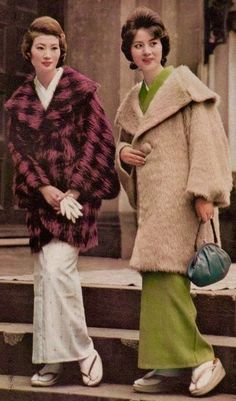 Retro geographic mix || Japanese fashion 1960s modern coats over kimono tan camel red black wool