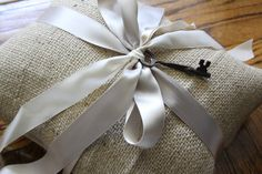Burlap Ring Bearer Pillow with Satin and Vintage Ribbon and  Key