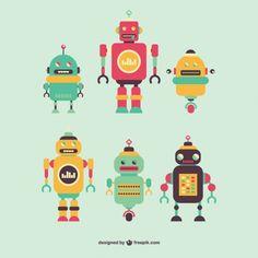 Retro Robots Set Free Vector