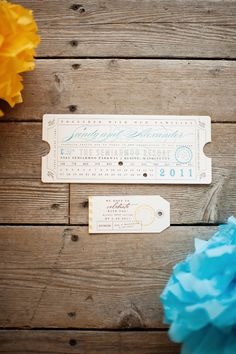 a fun ticket-inspired invitation by http://www.etsy.com/shop/LetterBoxInk  Photography by http://www.jennanddavestark-portfolio.com/