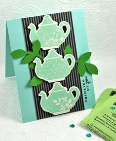Tea For Two Revisited - Tea Pots Card by Dawn McVey for Papertrey Ink (April 2013)