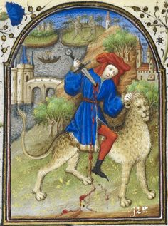 Detail of a niniature of a man riding a leopard and stabbing himself with a sword, as a personification of Anger - Ire. Penitential Psalms from Dunois Hours. Medieval Books, Medieval Life, Medieval Manuscript, Medieval Art, Renaissance Art, Illuminated Manuscript, Statues, Medieval Paintings, Early Middle Ages