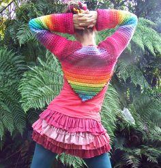 rainbow crocheted bolero shrug sleeves make to order. $150.00, via Etsy.