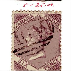 QV Jamaica 6d Dull Lilac (SG5) used with A01 Kingston cancel