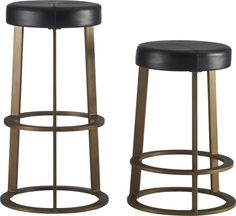 """retro ringer.  The classic diner-style stool comes full circle in this modern interpretation by Chicago-based designer Mark Daniel of Slate Design.  Daniel reveals """"the defining element of the barstool is the repeated disc of the seat, footrest and base. """" Hand-distressed with an antiqued black finish, welded steel structure rises to the perfect counter or bar height.  Cushy foam seat is upholstered in authentic leather that's drum-dyed rich black and intricately stitched."""