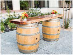 Wine Barrel Bar!! Beautifully Classic Orange and Grey Wedding