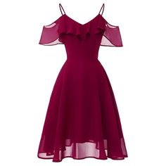 LaceShe Frauen Flowy Strapless Schulter Chiffon Kleid - XL / Burgund Source by rvappen short dresses Pretty Dresses, Sexy Dresses, Beautiful Dresses, Vintage Dresses, Fashion Dresses, Lace Dresses, Casual Dresses, 1950s Dresses, Office Dresses