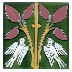 Out on the tiles - Victorian Style - Ceramic tile made by Minton Hollins showing two white doves and two central sprigs with leaves Victorian Wallpaper, Victorian Tiles, Antique Tiles, Antique Art, Vintage Art, Victorian Era, Victorian House, Vintage Books, Art Nouveau Tiles