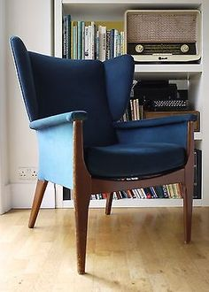 A-striking-Parker-Knoll-wing-arm-chair-in-blue-Retro-vintage-60s-70s