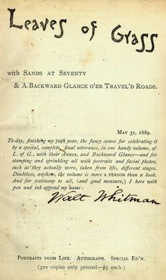 """Walt Whitman • Leaves of Grass 1889 """