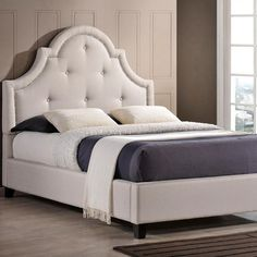 8a3fb649ba3e32 Baxton Studio Colchester Transitional Beige Fabric Upholstered King Size Bed -28862-5285-HD. The Home Depot