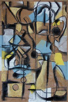 Yellow and Blue Cubist Still Life, 2014, Mixed media on paper bag paper. ©2014 Mark Nobriga marknobriga.com  All rights reserved.