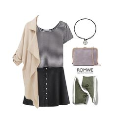 """""""Romwe skirt"""" by blueeyed-dreamer ❤ liked on Polyvore featuring Keds, contest, skirt, stripes, romwe and sneakers"""